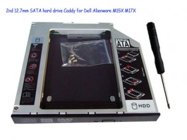 2nd 12.7mm SATA hard drive Caddy for Dell Alienware M15X M17X