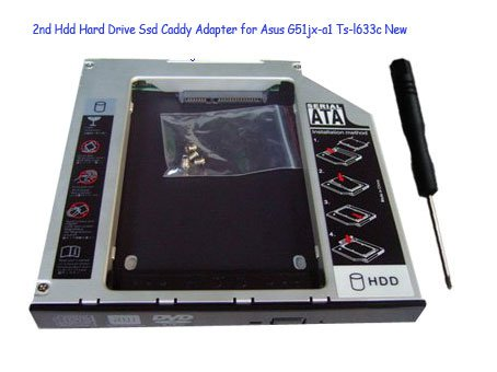 2nd Hdd Hard Drive Ssd Caddy Adapter for Asus G51jx-a1 Ts-l633c New