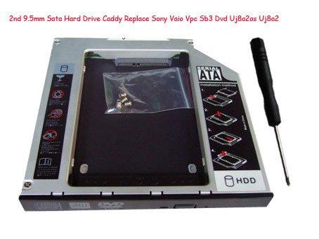 2nd 9.5mm Sata Hard Drive Caddy Replace Sony Vaio Vpc Sb3 Dvd Uj8a2as Uj8a2