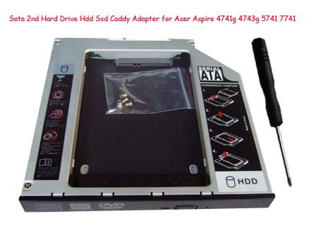 Sata 2nd Hard Drive Hdd Ssd Caddy Adapter for Acer Aspire 4741g 4743g 5741 7741