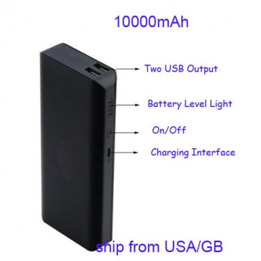 10000mAh Portable Power Bank Black 5SIB for Dual USB Output for iPhone 7/7 Plus, Samsung and More