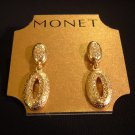 Signed MONET Goldtone with Crystals Drop Earrings Jewelry