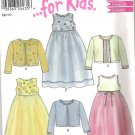 New Look  6047 Pattern Girls Lined Empire Waist Long Dress and Sweater Uncut Size 3-8