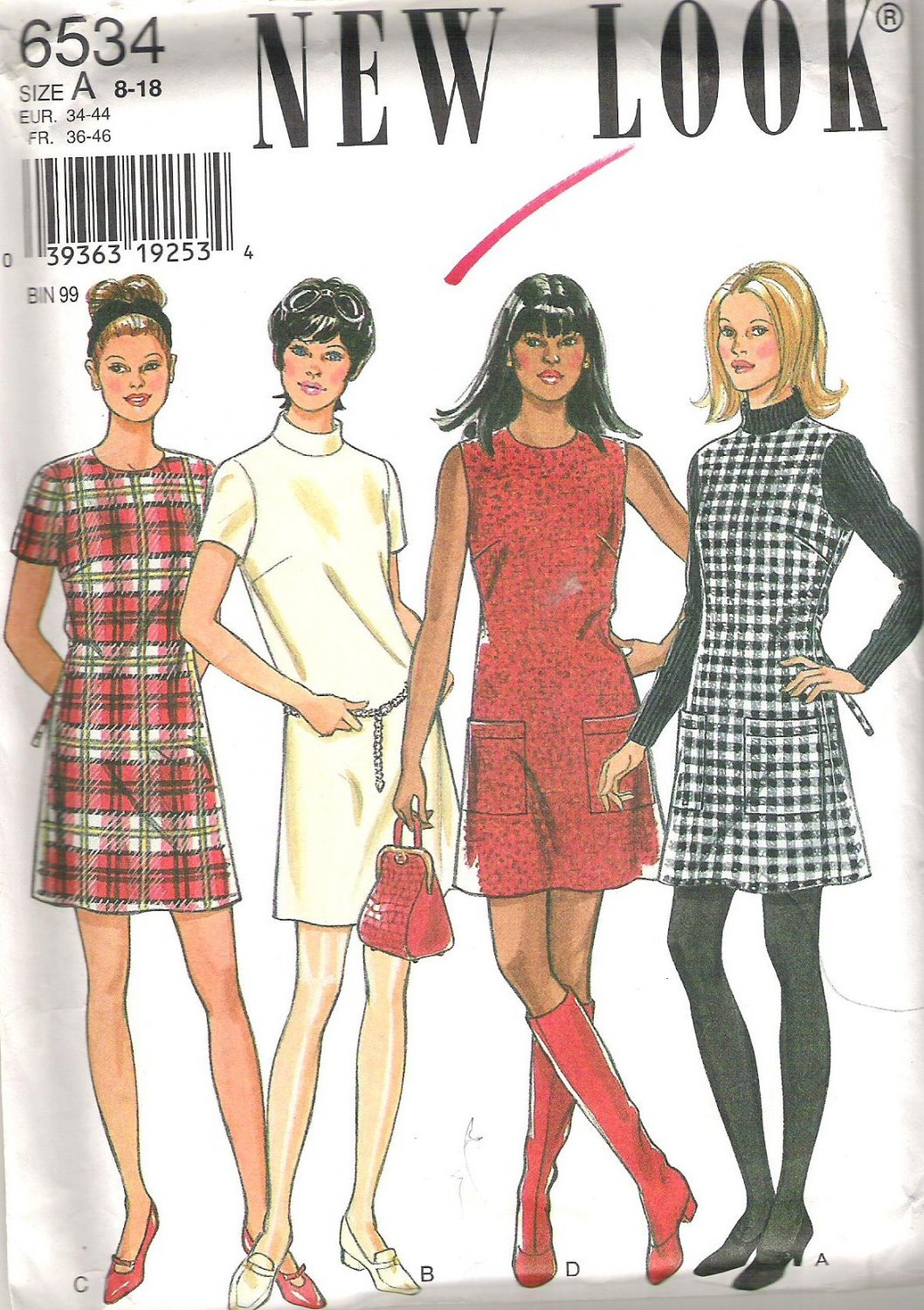 New Look 6534 Pattern Retro Look Short Dress Size 8-18 Partially Cut to 18