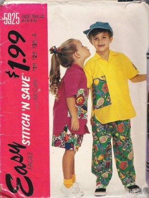 McCalls 5925 Pattern Boys Girls Shirt w/ Pocket, Elastic Waist Pants,Shorts Size 3-5 Cut to 5