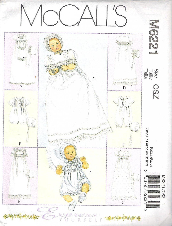 2010 McCalls 6221 Pattern Infants' Christening Gown Rompers &  Bonnets Size NB-LG Uncut