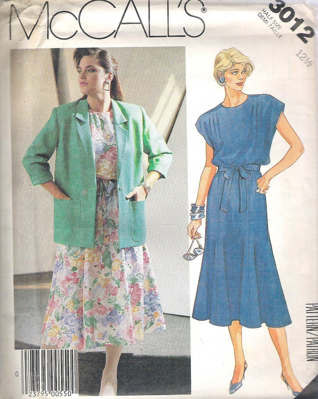 1987 McCalls 3012 Pattern Unlined Jacke, Dress w/Shoulder Gathers Tie Belt  Size 12 1/2 Uncut
