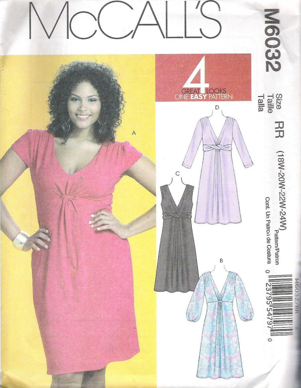 2010 McCalls 6032 Plus Size Pattern  Dress Front Loop creating drape effect Size 18W-24W Uncut
