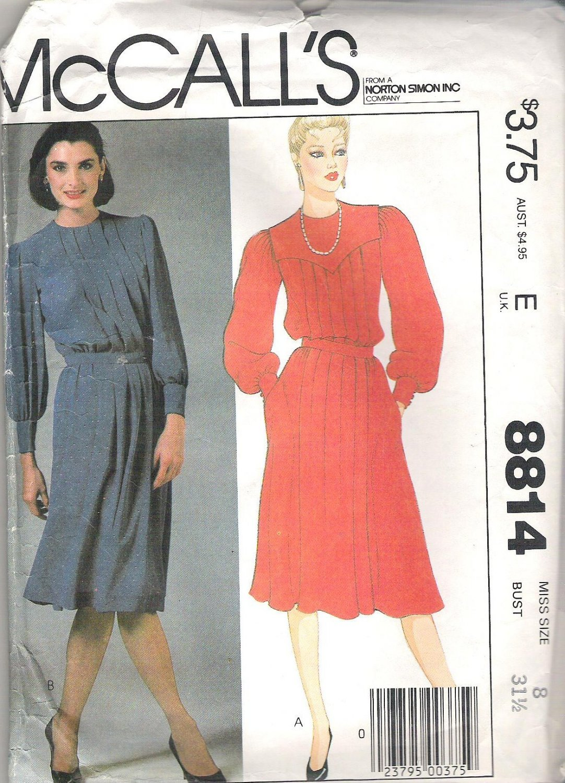 1983 McCalls 8814 Pattern Dress w/Pleats Back Buttoned to Waist Size 8 Cut