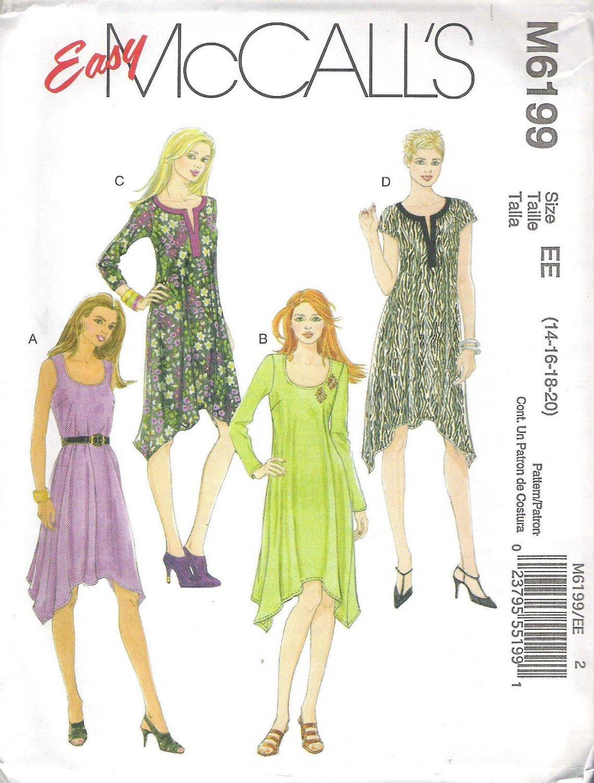 2010 McCalls 6199 Pattern Pullover Dress Shaped Hem Scoop Neckline Size 14-20 Uncut