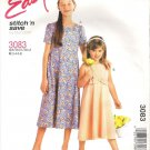 2001 McCalls 3083 Pattern Girls Dress Round Neck Raised Waist Circle Skirt Back Zip Size3-6 Cut