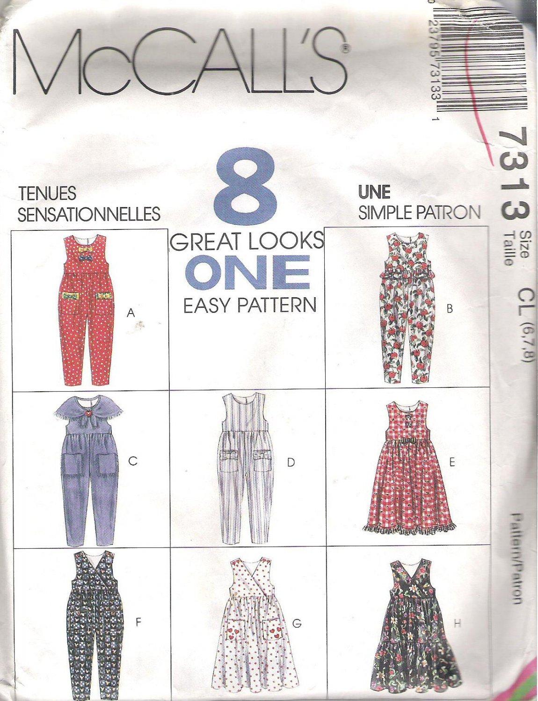 1994 McCalls 7313 Pattern Children & Girls Jumpsuit Jumper Dress & Scarf Size 6-8 Cut to 8