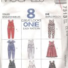 1994 McCalls 7313 Pattern Children & Girls Jumpsuit Jumper Dress & Scarf Size 6-8 Cut to 8