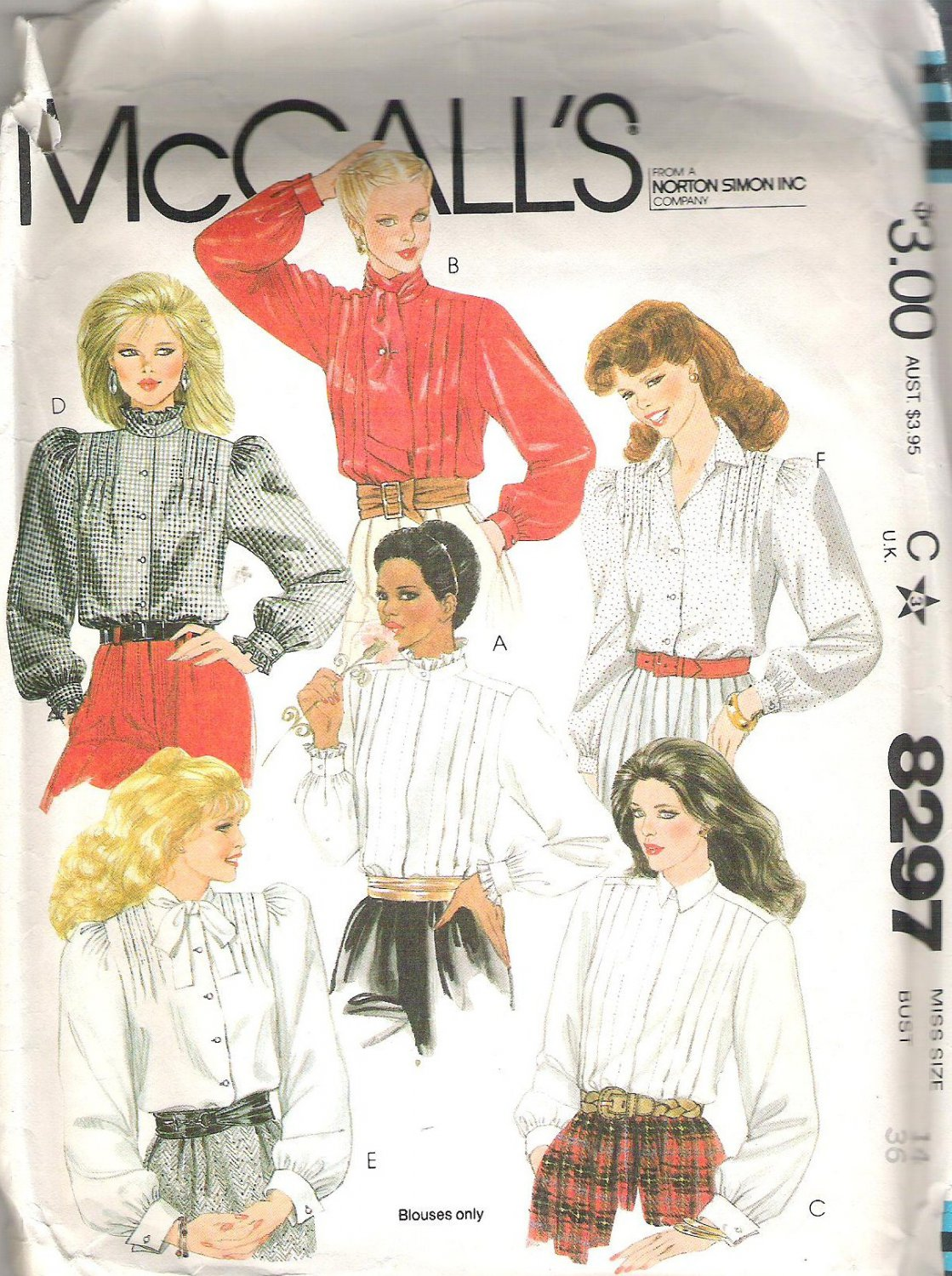 1982 McCalls 8297 Pattern Buttoned Blouses Tucked Front Collar & Cuff Variations Size 14 Cut
