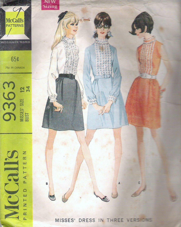 1968 McCalls 9363 Pattern Vintage Dress w/Ruffle or Braid Trim on Bodice Collar & Cuffs Size 12 Cut