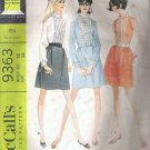 1968 McCalls 9363 Pattern Vintage Dress w/Ruffle or Braid Trim on Bodice Collar & Cuffs Size 12 Cut