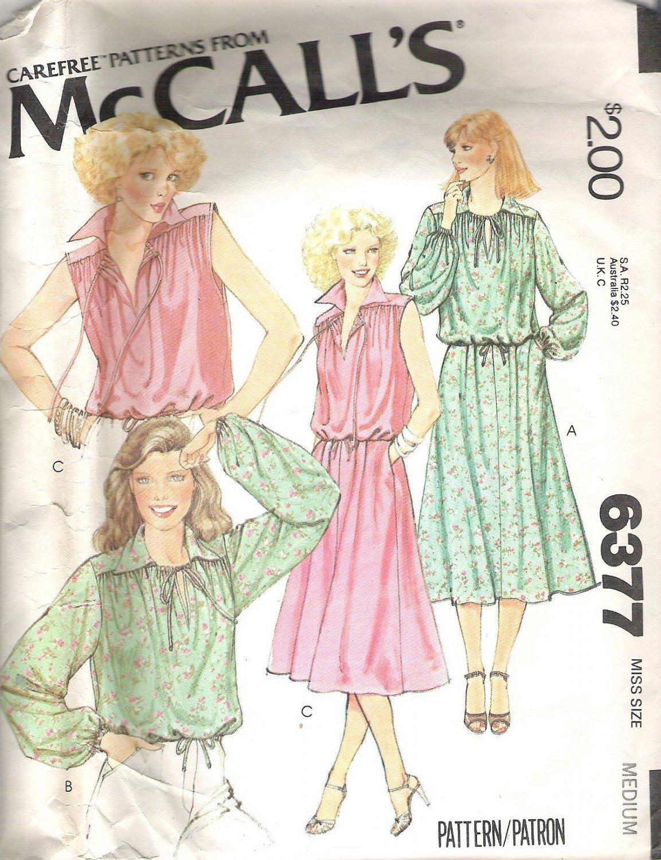 1976 McCalls 6377 Pattern Pullover Top Drawstring Neck & Waist Skirt  Back Zipper  Medium  Cut
