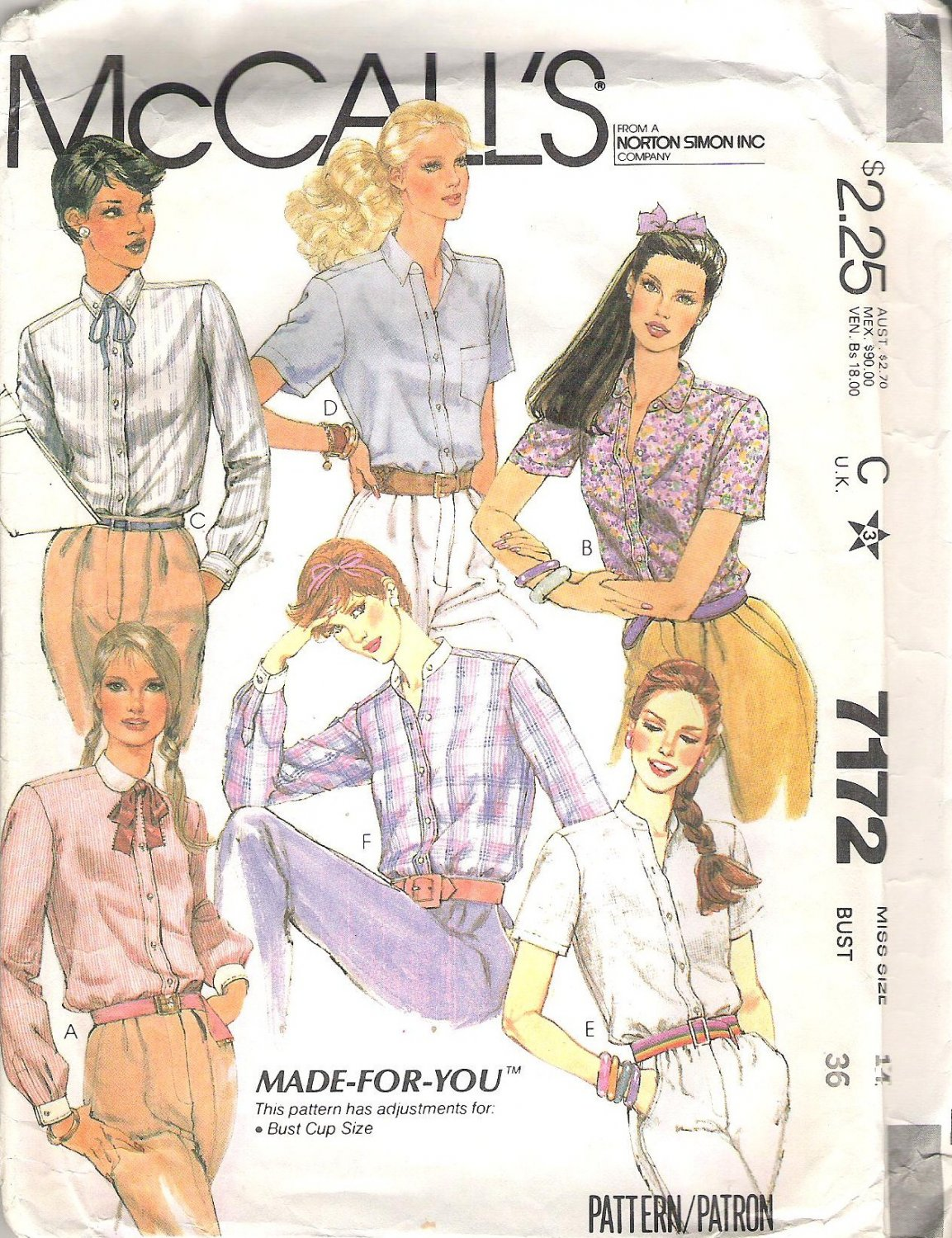 1980 McCalls 7172 Pattern Blouses Collar and Sleeve Variations Bust Cup Size Adjustments Size14 Cut