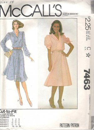 1981 McCalls 7463 Pattern Petite Buttoned Pullover Dress Elastic Waist Size 12-16 Cut to 16