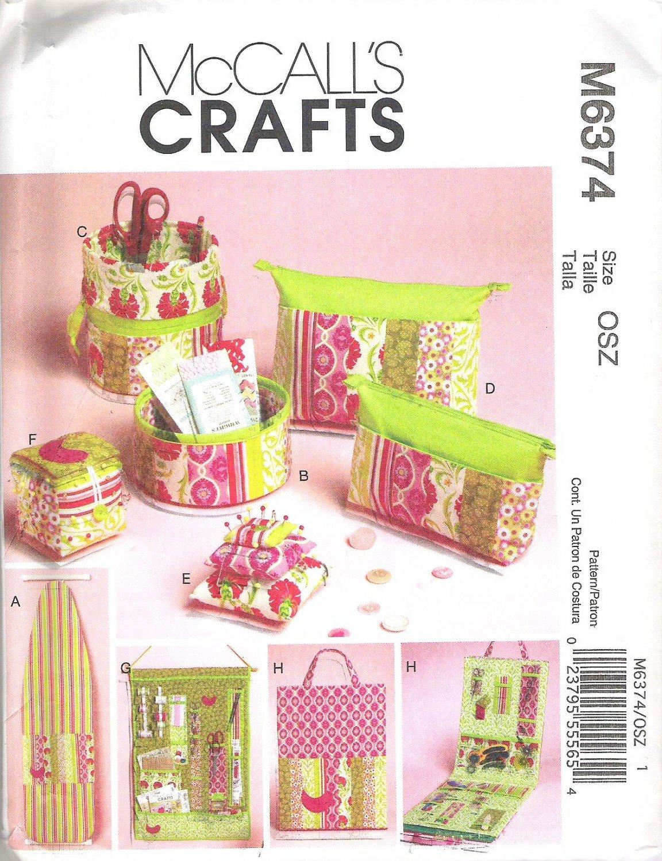 2011 McCalls 6374 Pattern Ironing Board Cover, Organizers, Zip Case Pin Cushions Uncut