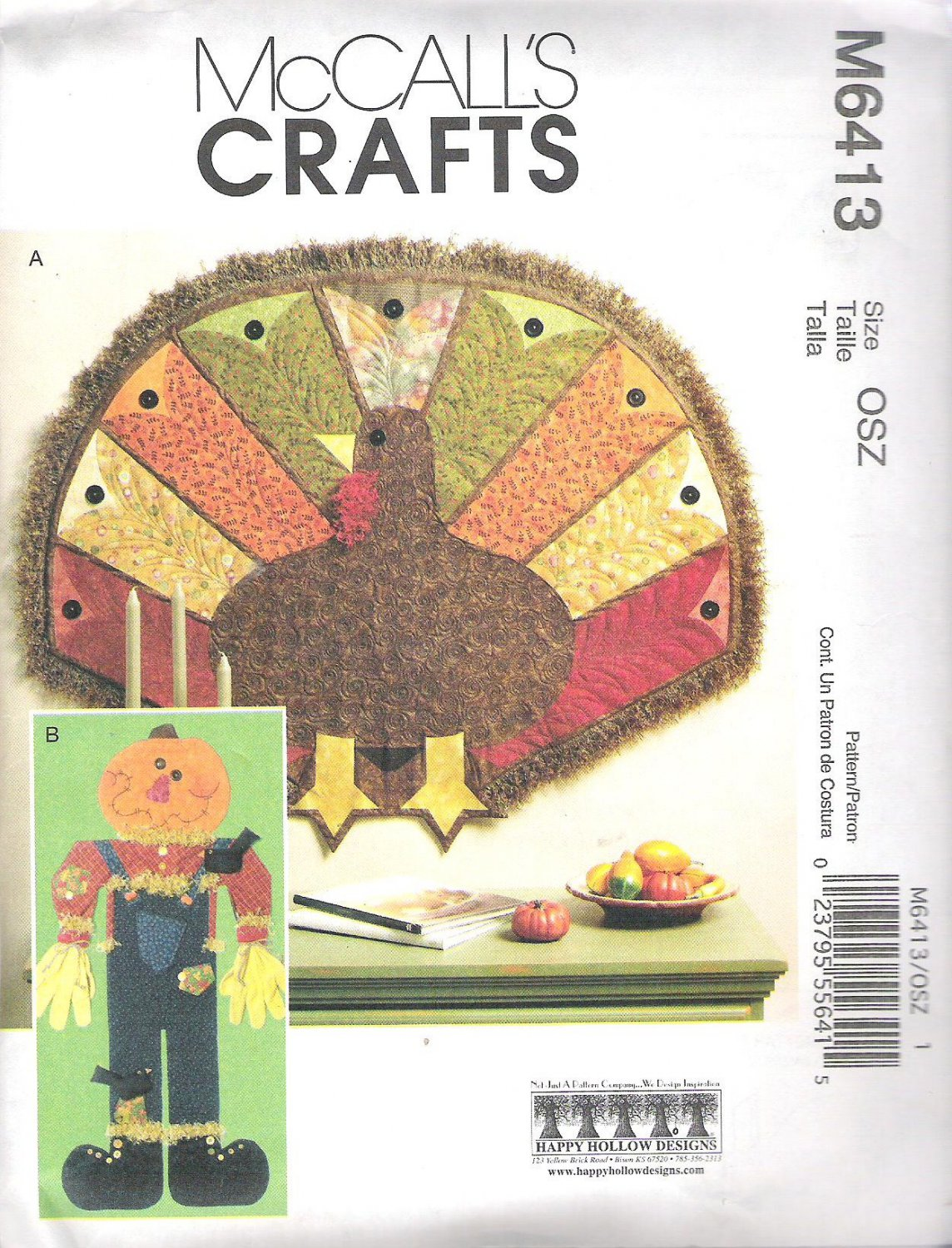 2011 McCalls 6413 Pattern Fall Decorations  Turkey and Scarecrow  Uncut