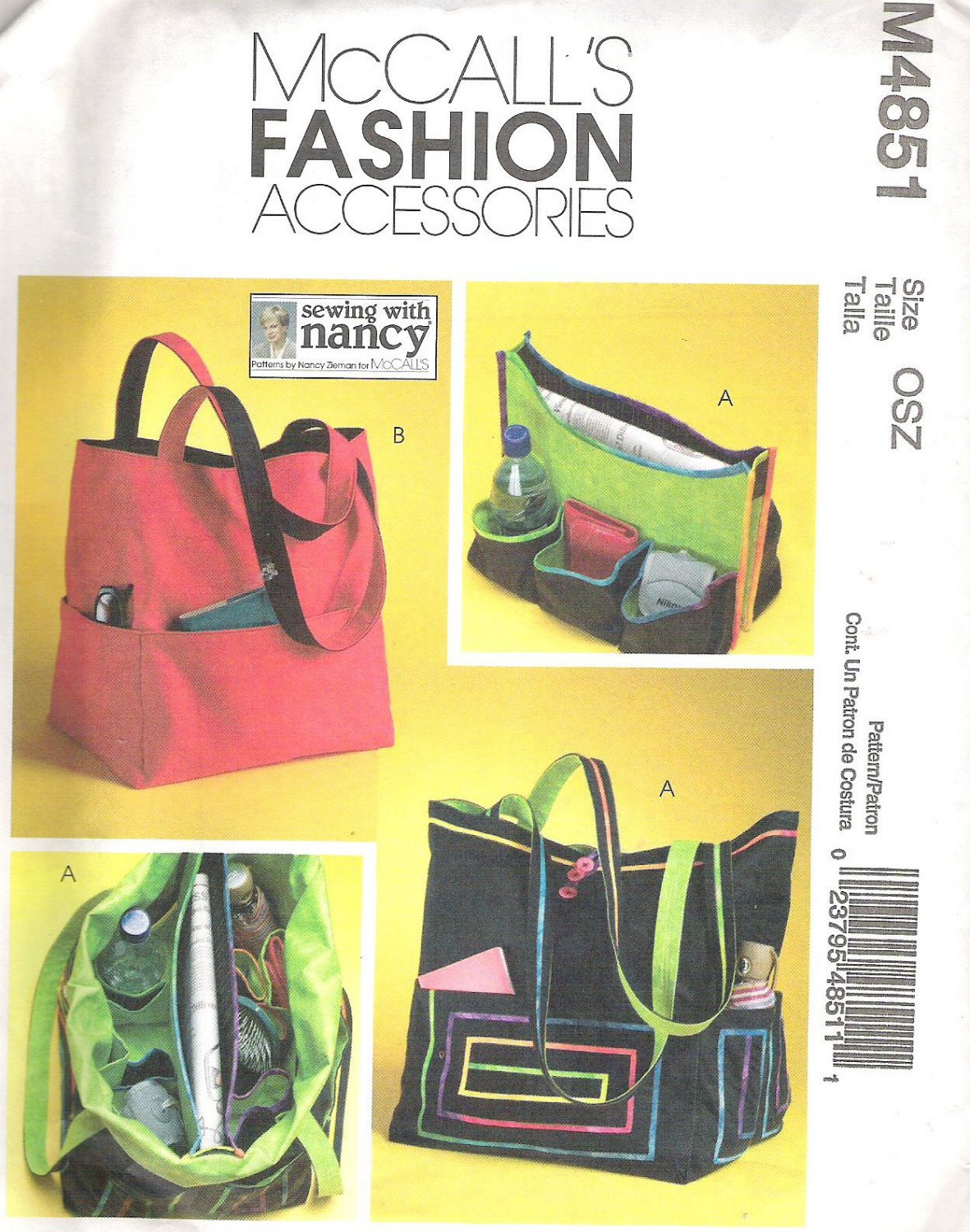 2005 McCalls 4851 Pattern Tote Bags with Detachable Organizer Partial Cut