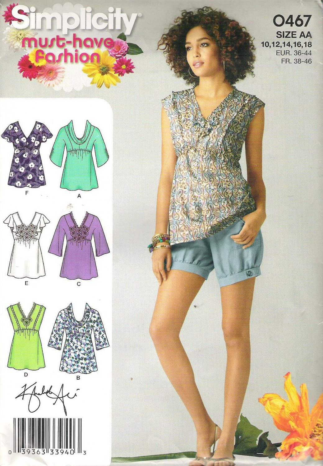 2011 Simplicity 0467 Pattern Top with Lace, Flower Neckline & Sleeve Variations Size 10-18  Uncut