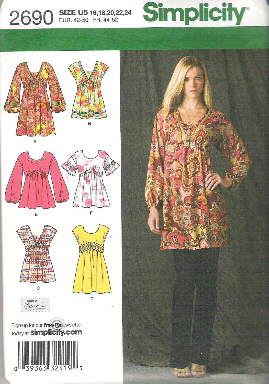2009 Simplicity 2690 Pattern Tunic in 3 lengths, 3 sleeve & 2 neck variations  Size 16-24 Uncut