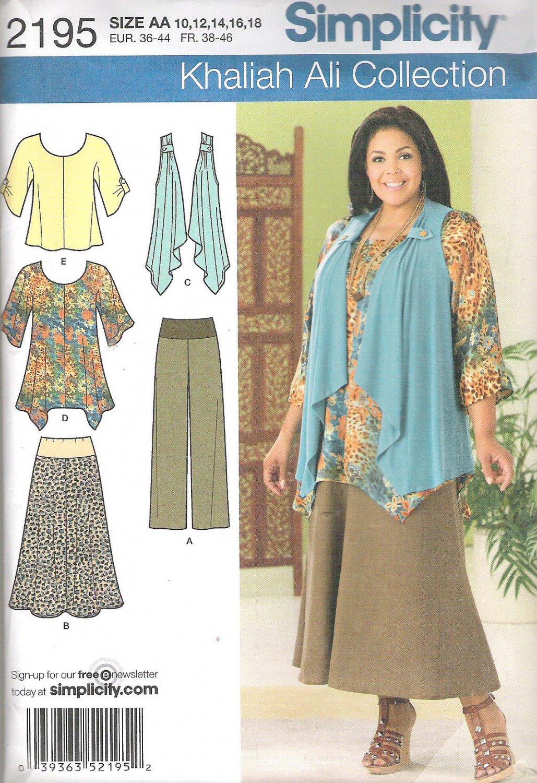 2011 Simplicity 2195 Pattern Tunic, Top, Vest, Pants, Skirt Size 10-18 Uncut