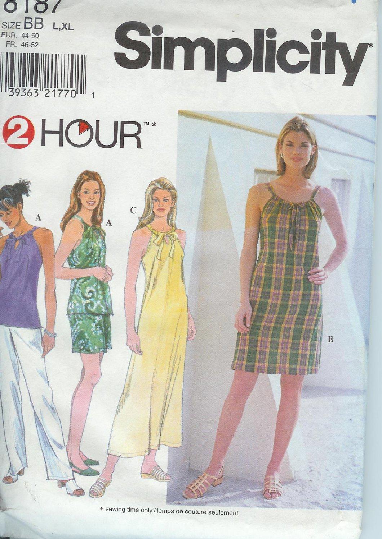 Simplicity 8187 Pattern 2HR Sun Dress Top Shorts Pants Size L-XL  Partial Cut to L