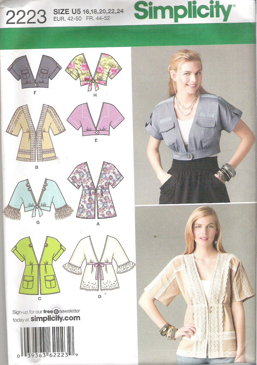 2011 Simplicity 2223 Pattern Jacket in Two Lengths with Trim Variations Size 16-24 Uncut