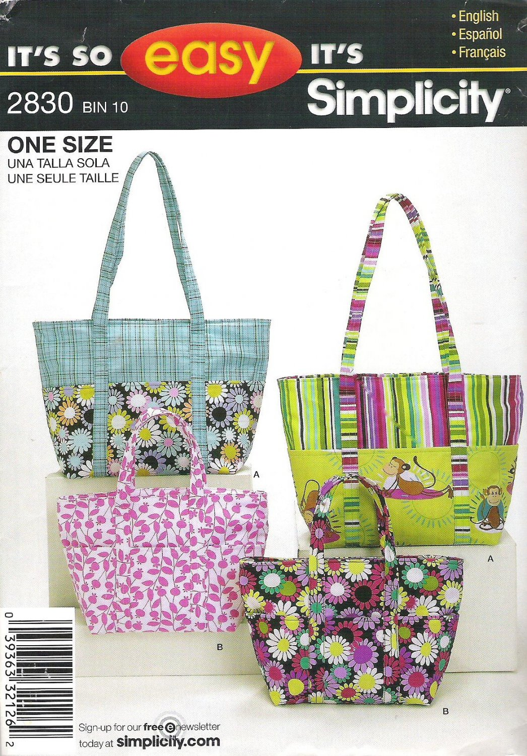 2008 Simplicity 2830 Pattern Purse Pocketbook Handbag Tote in Two Sizes  Cut to Large