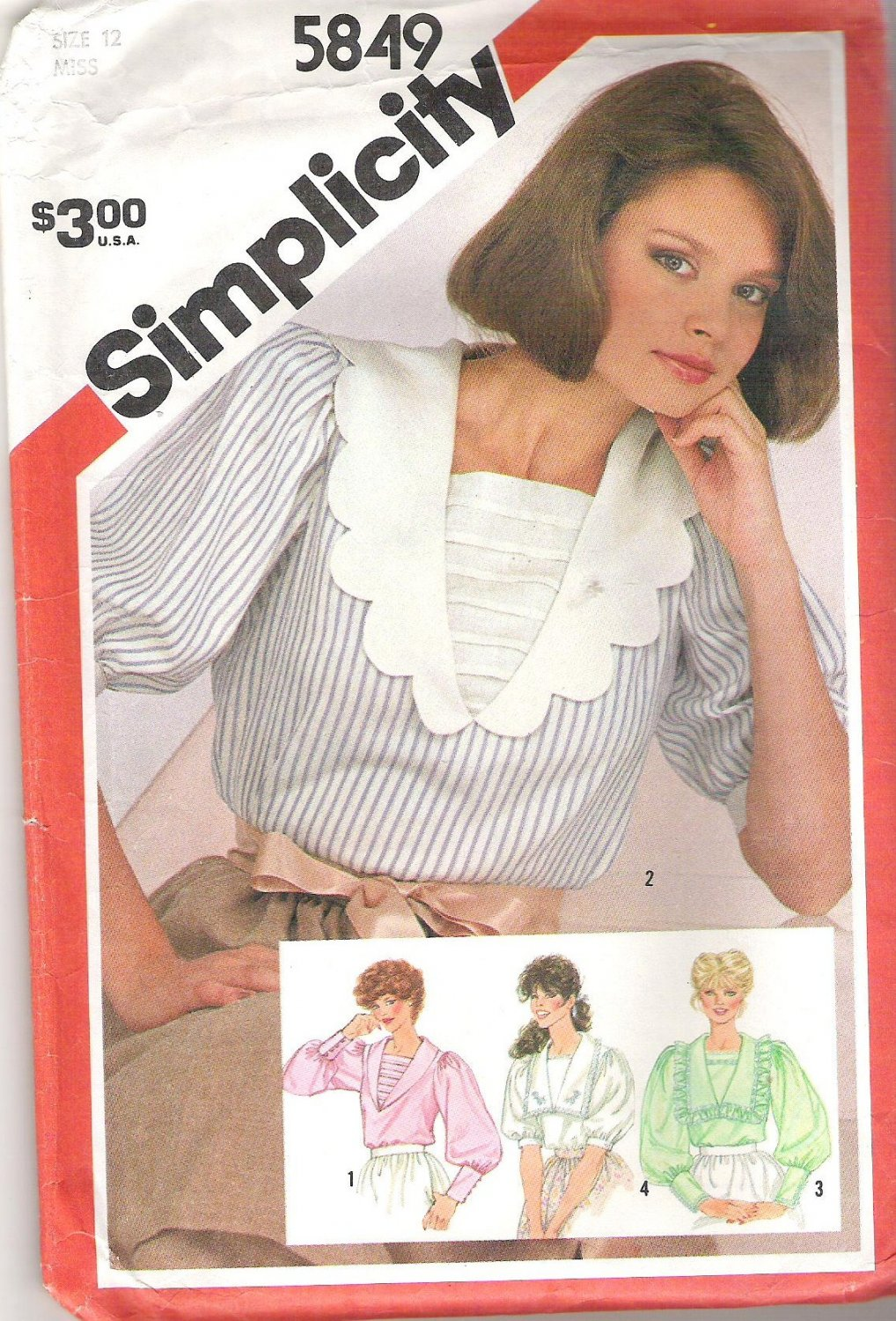 1982 Simplicity 5849 Pattern Pullover Blouse V-neck Shawl Collar Sleeve Variations Size 12 Cut