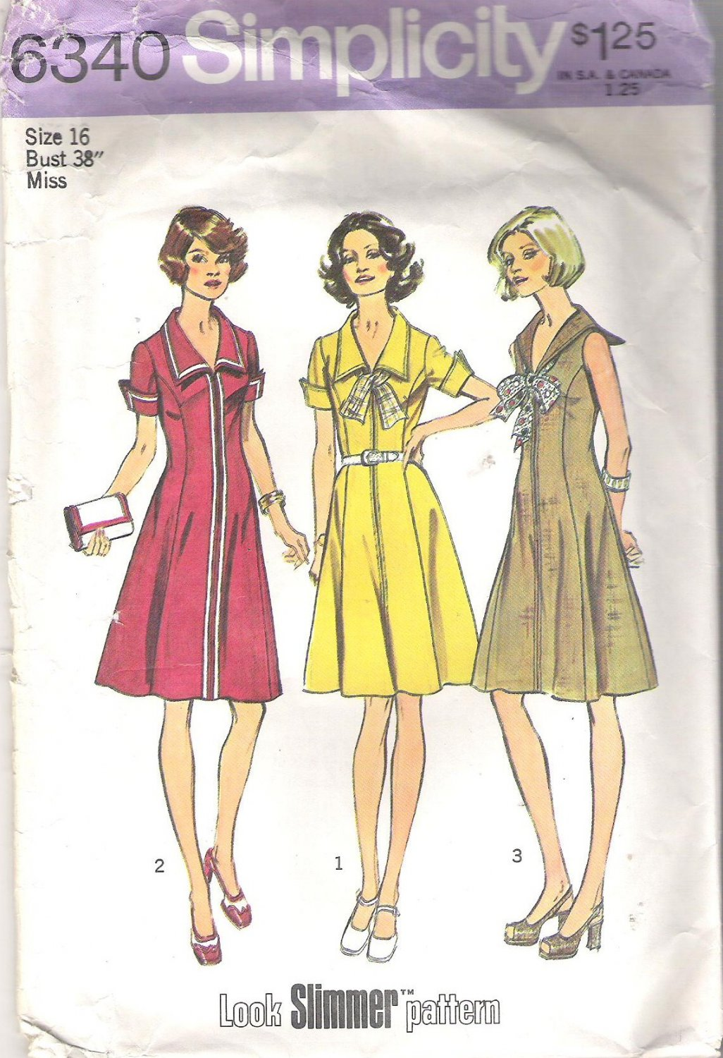 Simplicity 6340 Pattern Look Slimmer Princess Dress Size 16 Partial Cut