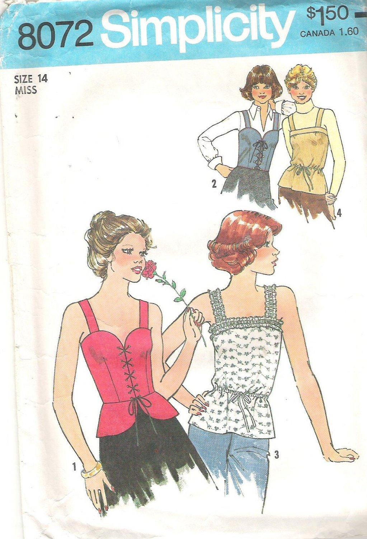 1977 Simplicity 8072 Pattern Vintage Camisole Top Size 14  Cut