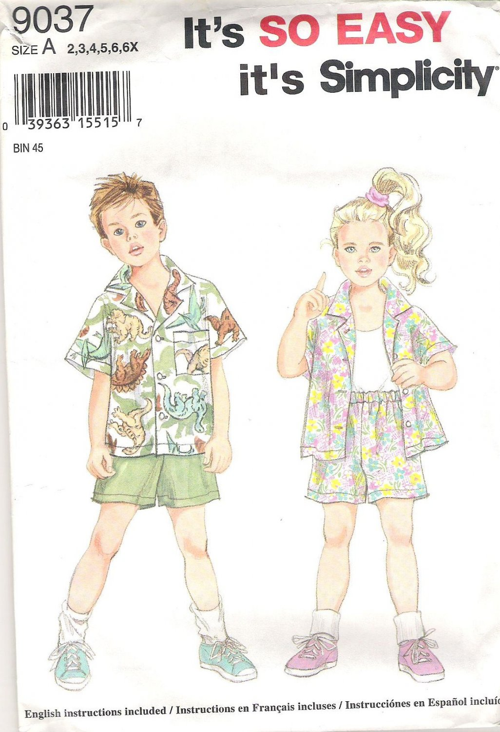 1994 Simplicity 9037 Pattern Girls Childs Shirt and Shorts  Size 2-6X  Partial Cut to 6X