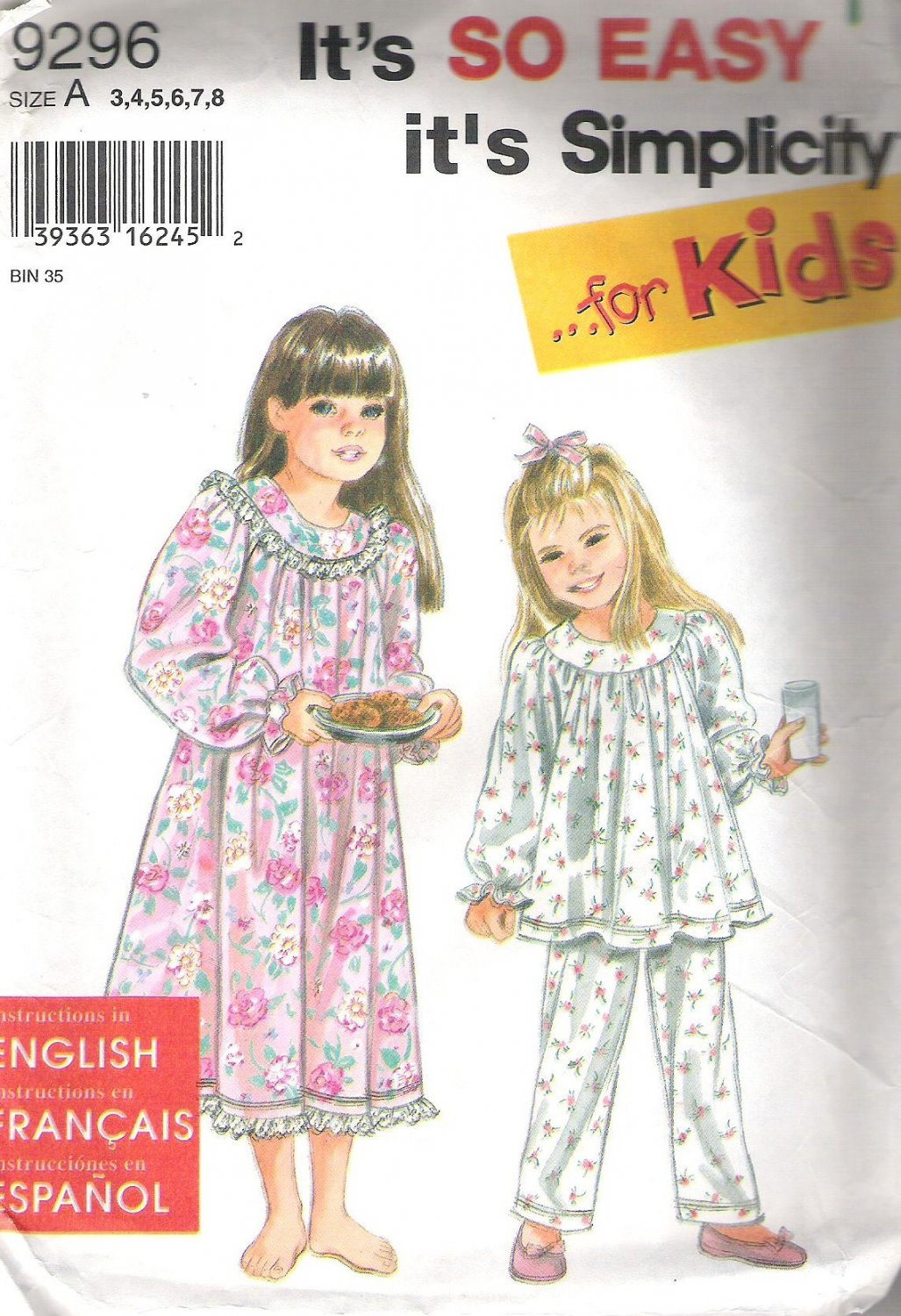 1996 Simplicity 9296  Pattern Girls Nightgown and Pajamas Size 3-8 Partial Cut to 8