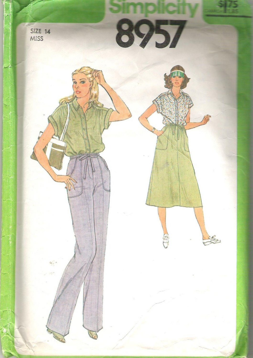 1979 Simplicity 8957 Pattern Short Sleeve Blouse Skirt and Pants with Slant Pockets  Size 14 Cut