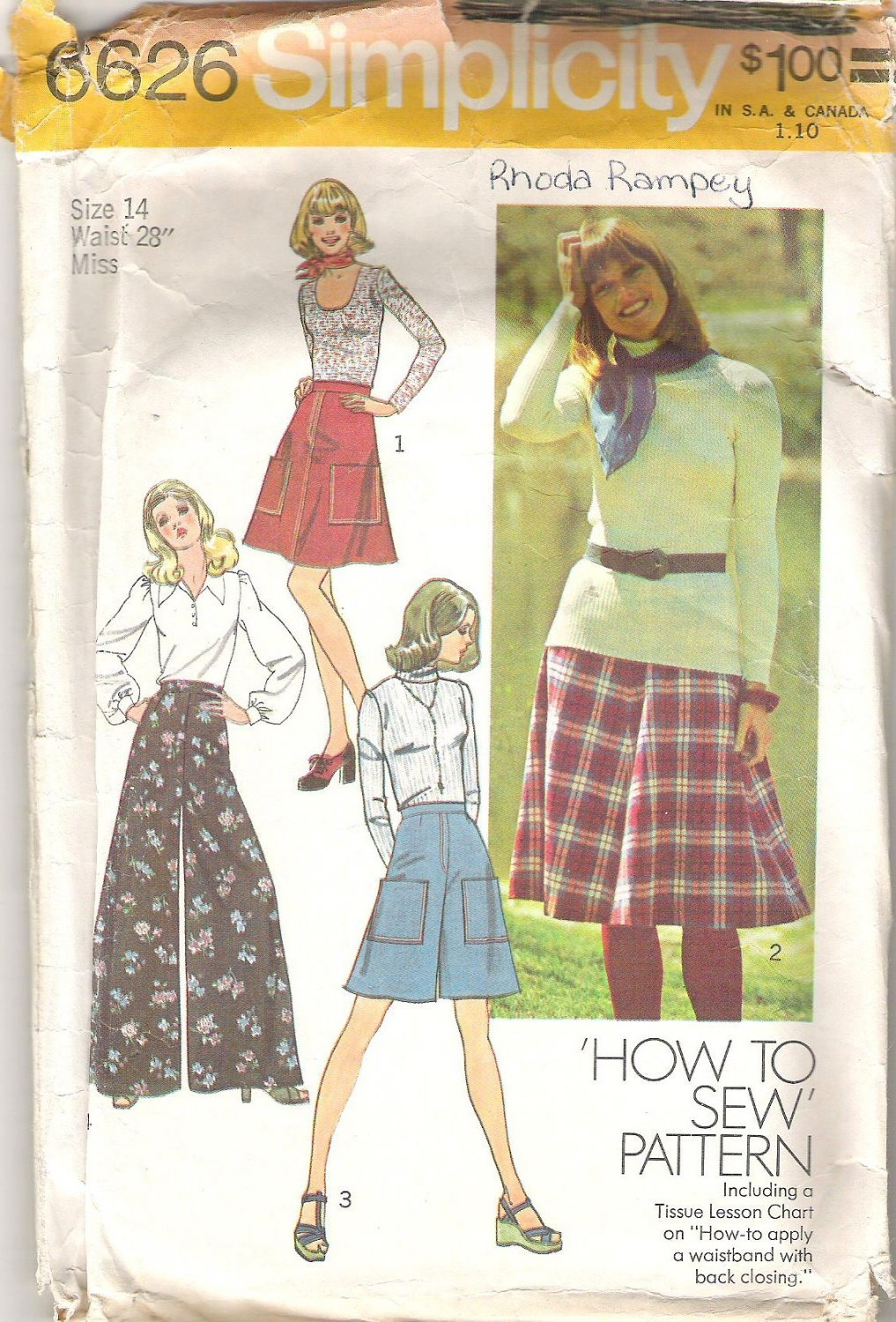 1974 Simplicity 6626 Pattern Vintage Skirt and Pantskirt Extra Wide Legs  Size 14  Partial Cut