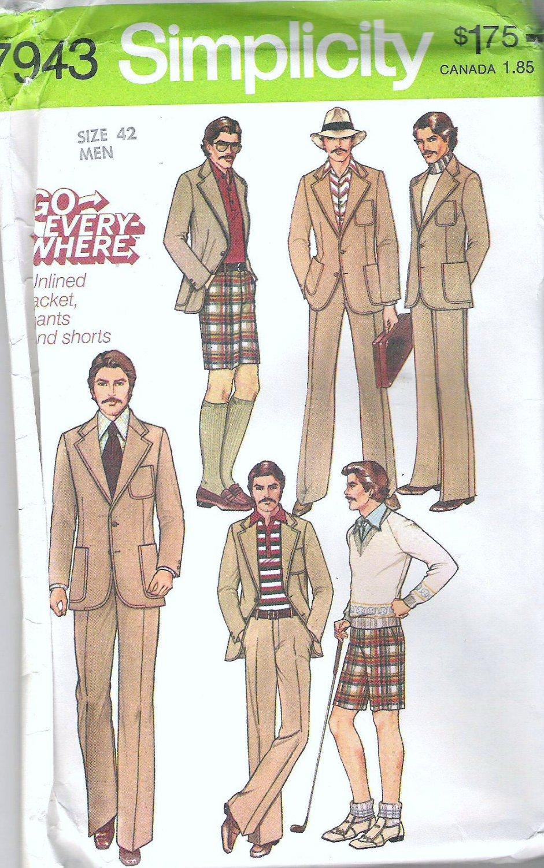 1977 Simplicity 7943 Pattern Mens Vintage 1970s Pants Shorts Unlined Jacket  Size 42  Uncut