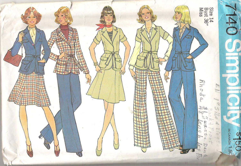 1975 Simplicity 7140 Pattern Vintage 1970s Front Wrap Jacket Gored Skirt, Pants Size 14  Part Cut