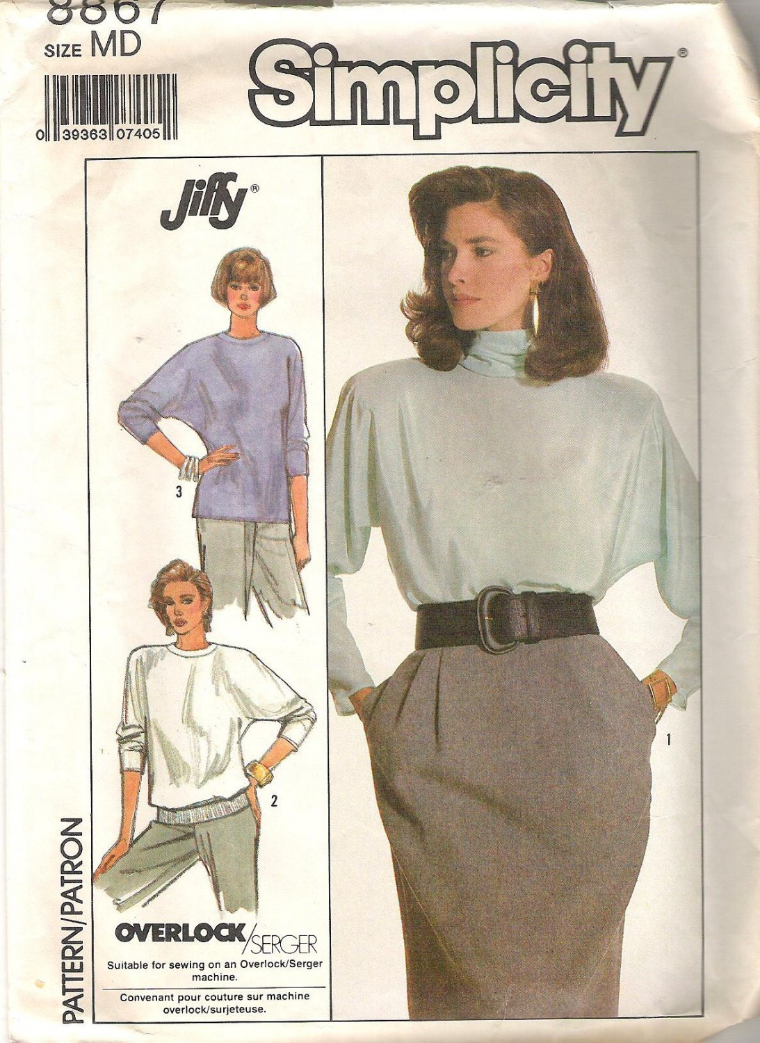 1988 Simplicity 8867 Pattern Pullover Top with Dolman Sleeves  Size M  Cut