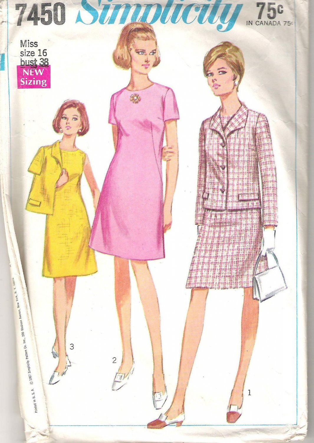 1967 Simplicity Pattern 7450 Vintage Dress and Jacket  with Italian-Type Collar  Size 16  Cut