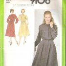 1996 Simplicity 9106 Pattern Dress Front  Back Yokes Pleats Fly Front Button Closing  Size 14  Cut