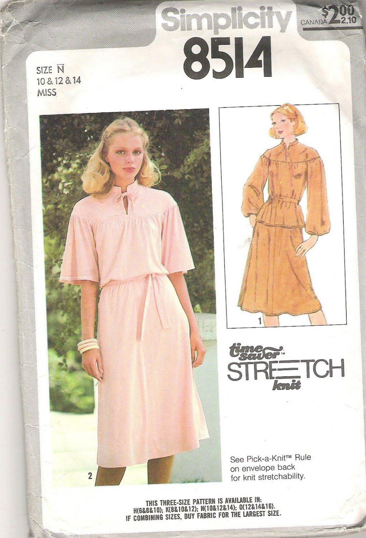 1978 Simplicity 8514 Pattern Pullover 2 Piece Dress Tie Belt Stretch Knit Only Size 10-14  Part Cut
