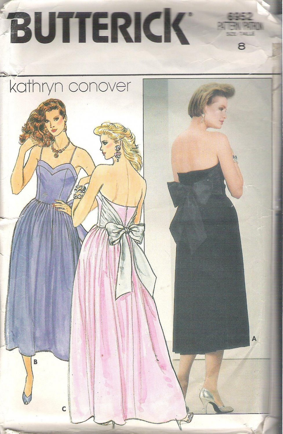 Butterick 6952  Pattern Special Occasion Evening Boned Dress  Size 8  Partial Cut