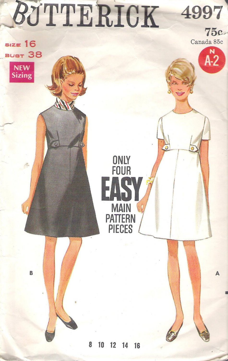 Butterick 4997 Pattern  Vintage Easy A-Line Dress with Tabs Size 16  Cut