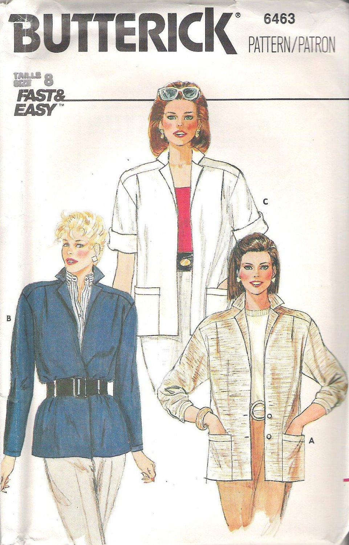 Butterick 6463 Pattern Short or Long Sleeve Unlined Jacket  Size 8  Cut
