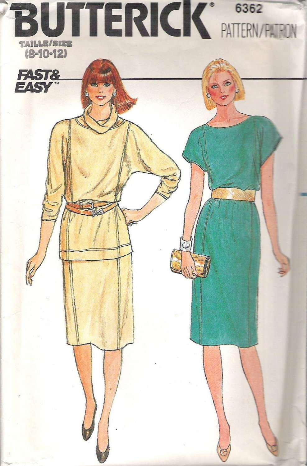 Butterick 6362 Pattern Pullover Dress, Top and Skirt  Size 8-12  Cut to 10