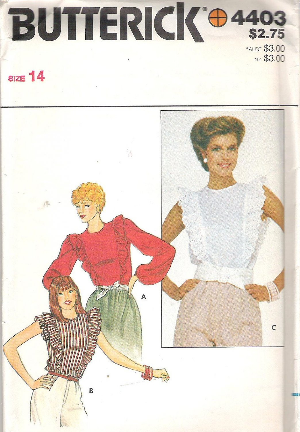 Butterick 4403 Pattern Blouse Shirt Top with Ruffle Long Sleeves or Sleeveless  Size 14  Cut